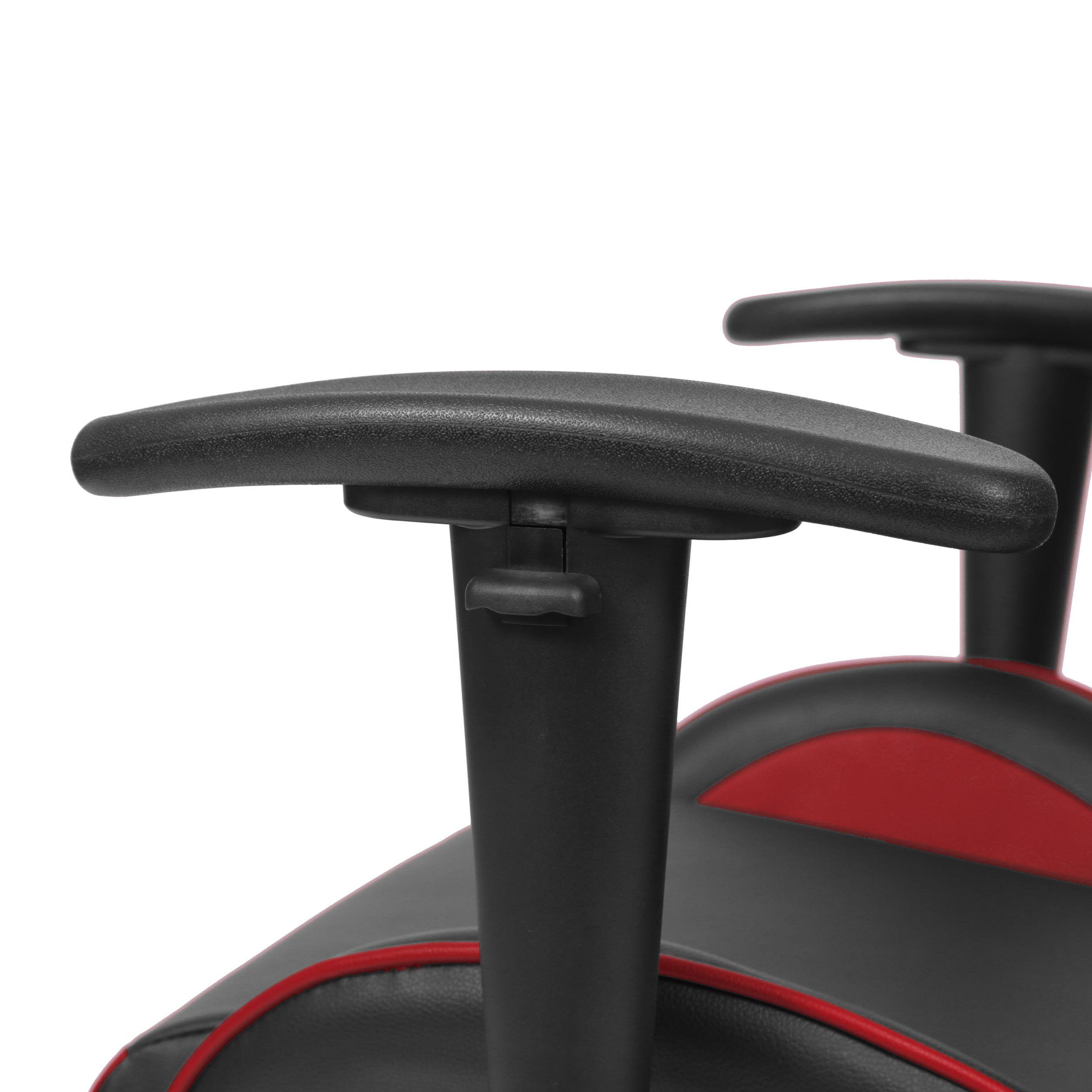 Cadeira Office Gamer Fun em Courissimo Cor Preta e Vermelha com Base Nylon - 51837