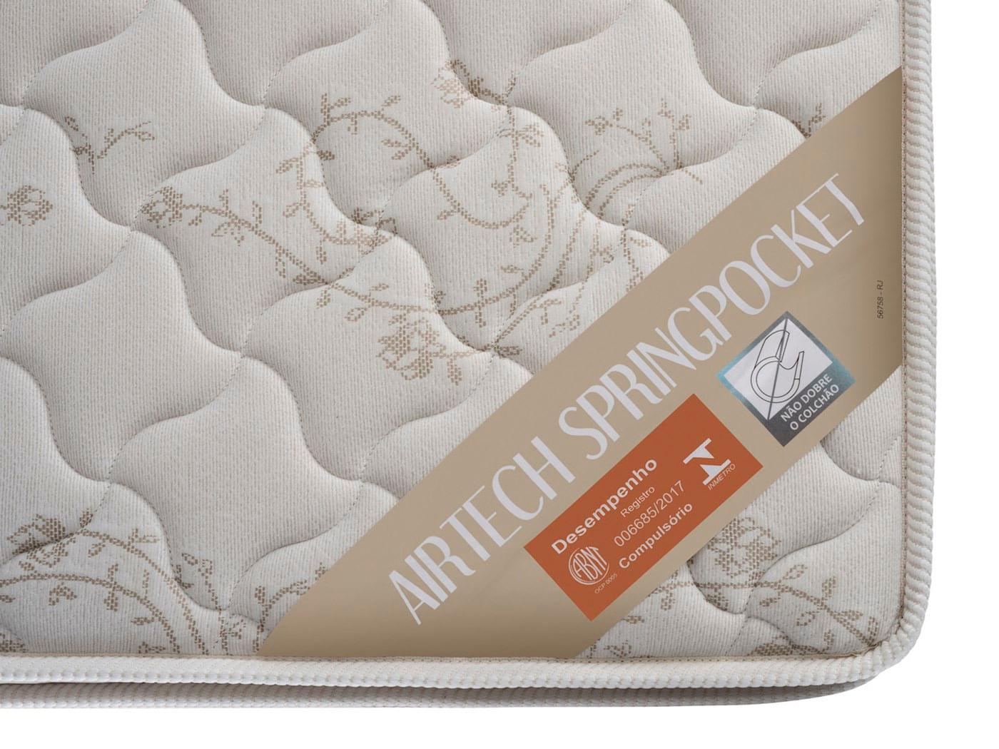 Colchao Airtech Spring Pocket Solteiro 78 cm (LARG) Branco com Lateral Bege - 51986