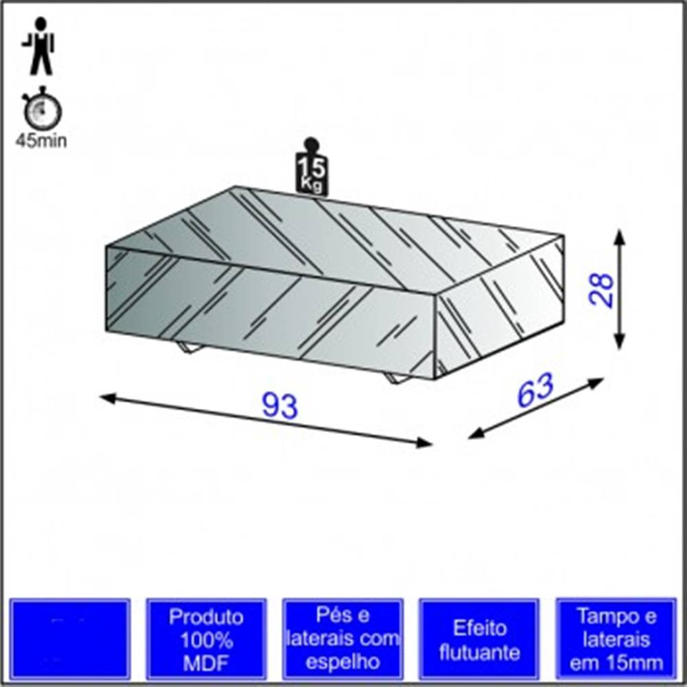Mesa de Centro Cubo Espelhada - 51125