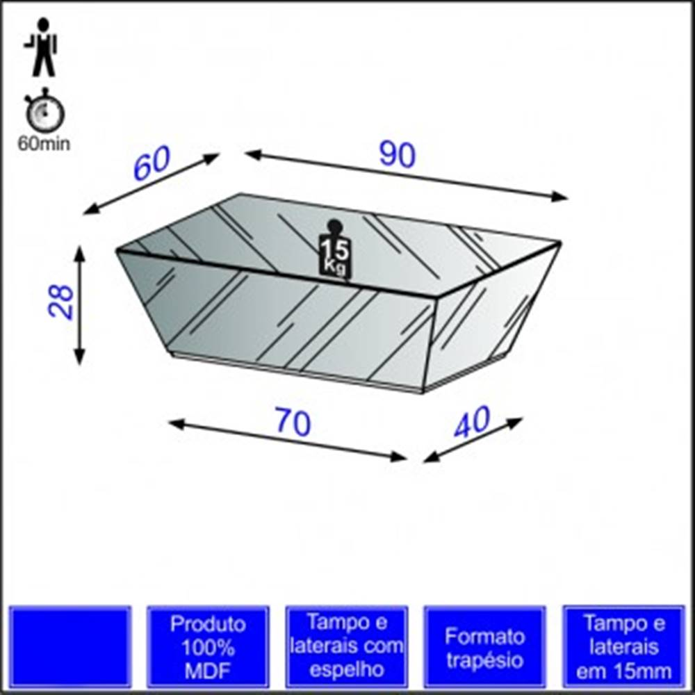 Mesa de Centro Piramide Espelhada 90 cm - 39935