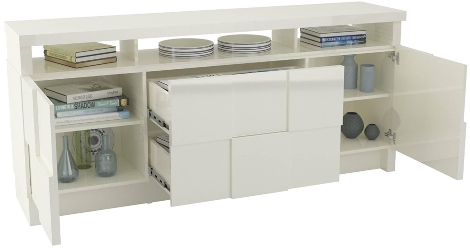 Buffet Ornato Quadriculado com 2 Portas e 2 Gavetas cor Off White 1,76 MT (LARG) - 44898