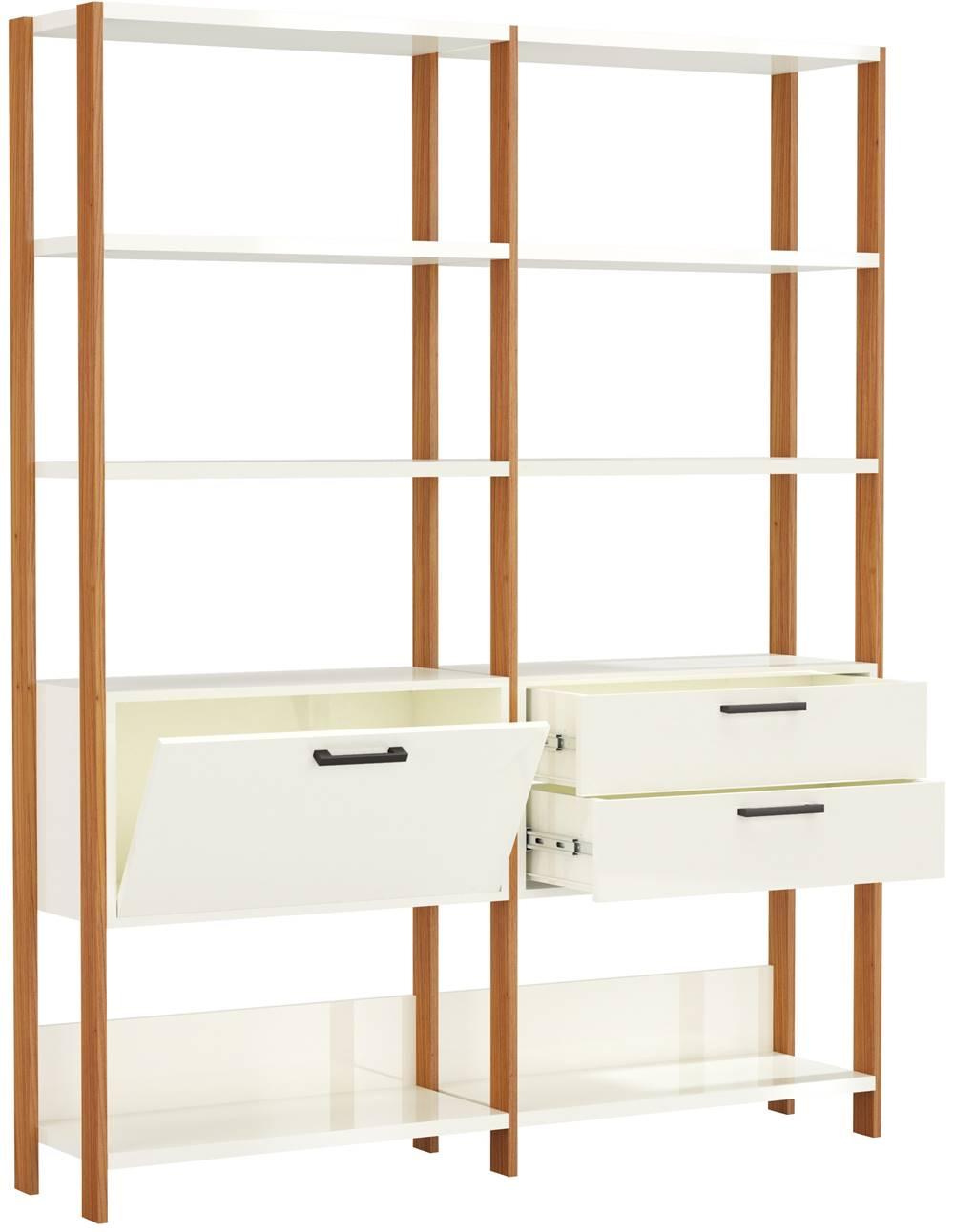 Estante Elegante 2 Torres com 1 Gaveteiro e 1 Porta 1,45 MT (LARG) cor Off White Brilho com Freijo Fosco - 52817
