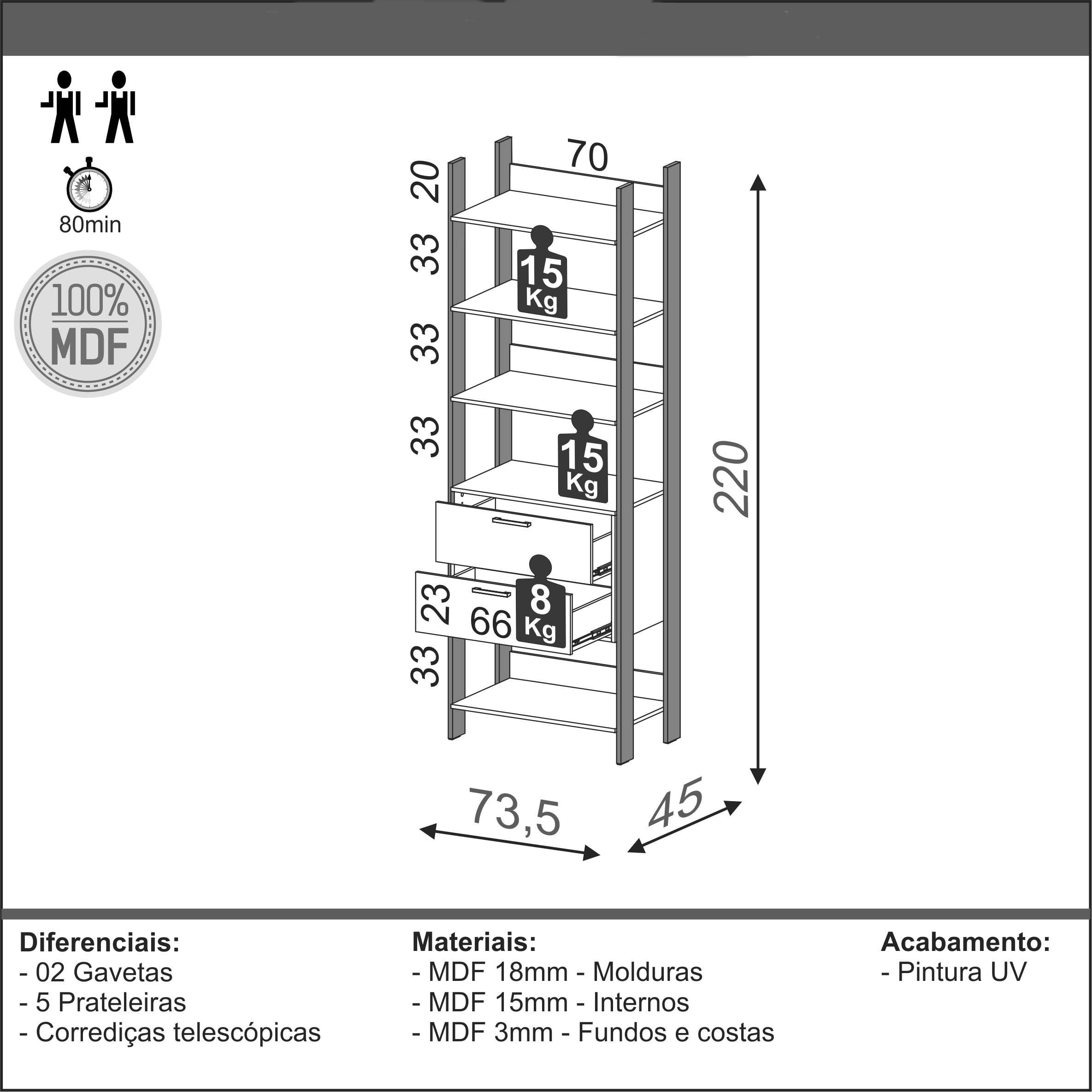 Closet 1 Torre com Gaveteiro Olimpo 73 cm (LARG) Freijo Fosco com Preto Fosco- 51877