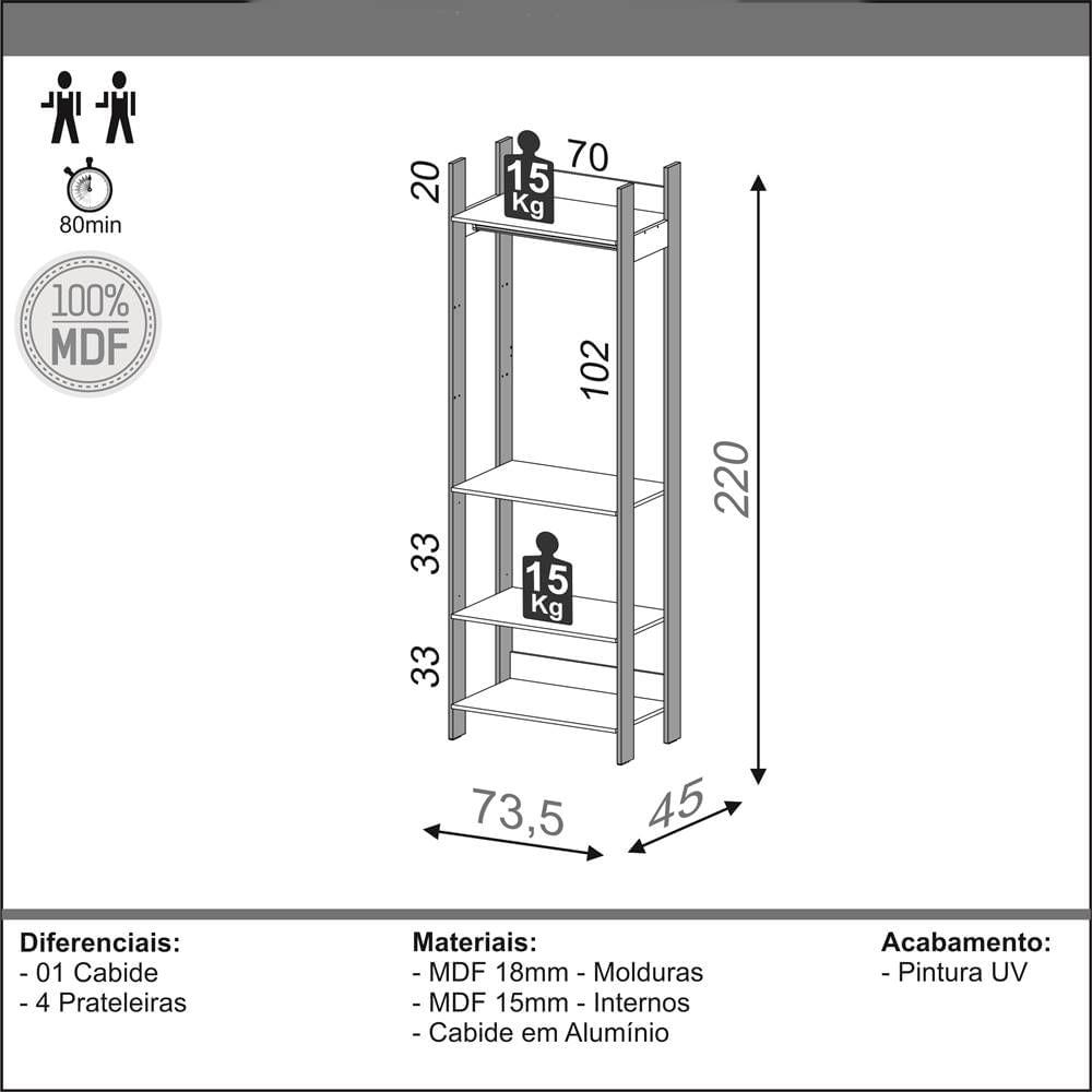 Closet 1 Torre Olimpo 74 cm (LARG) Off White Brilho com Freijo Fosco - 52860