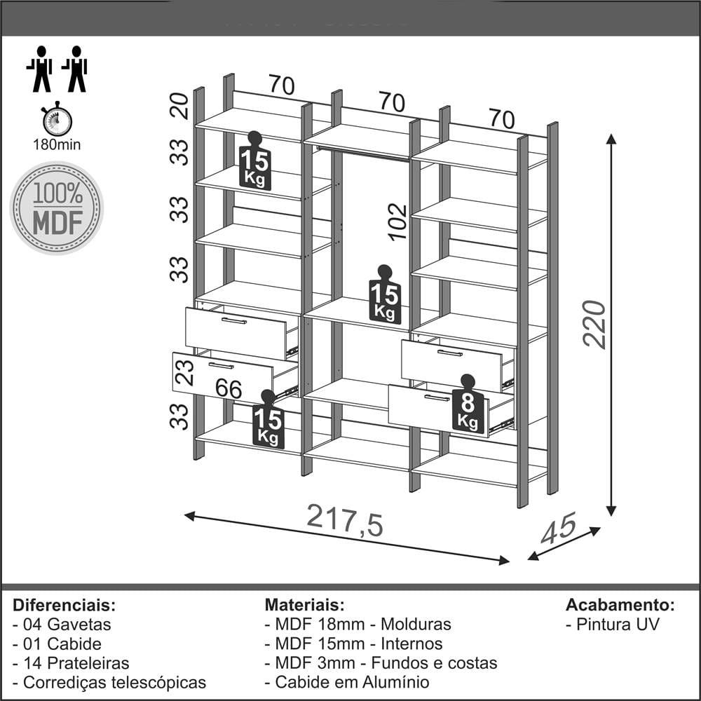 Closet 3 Torres com 2 Gaveteiros Olimpo 2,18 MT (LARG) Freijo Fosco com Preto Fosco - 51875