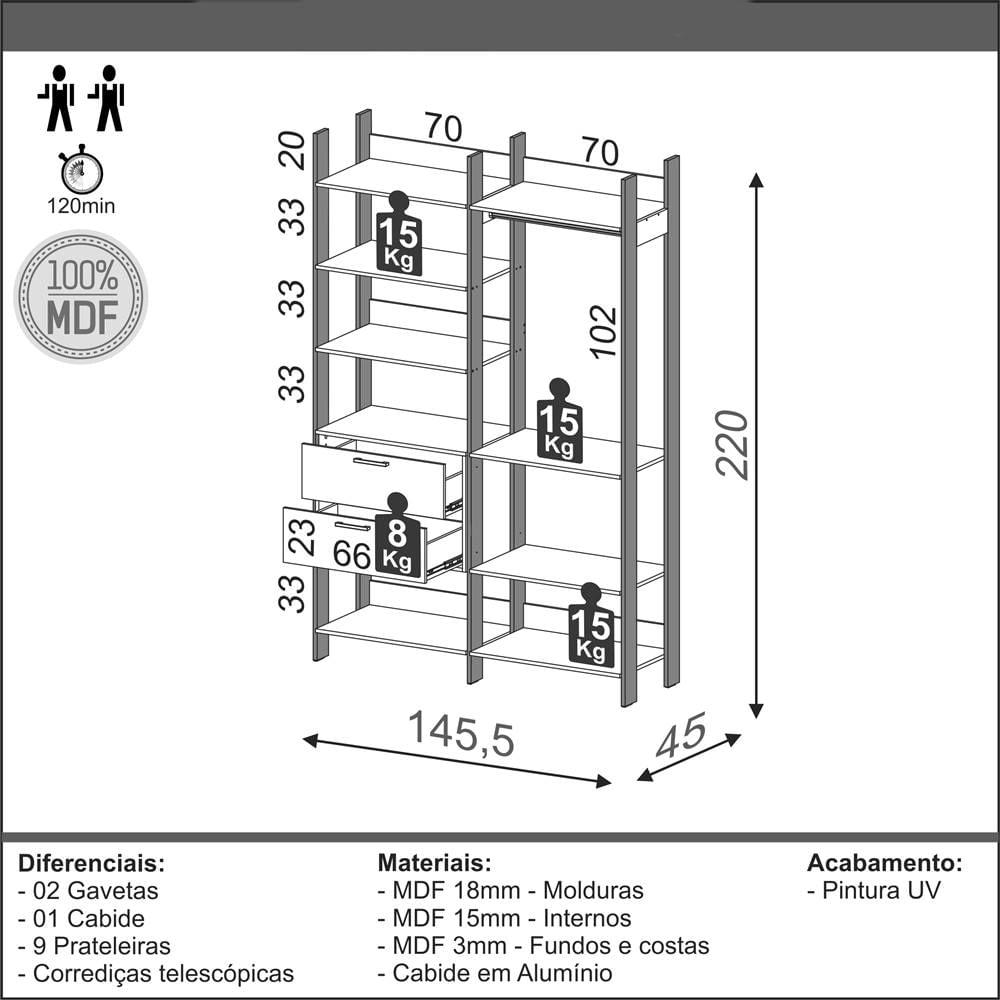 Closet 2 Torres com 1 Gaveteiro Olimpo 1,46 MT (LARG) Freijo Fosco com Preto Fosco - 52861