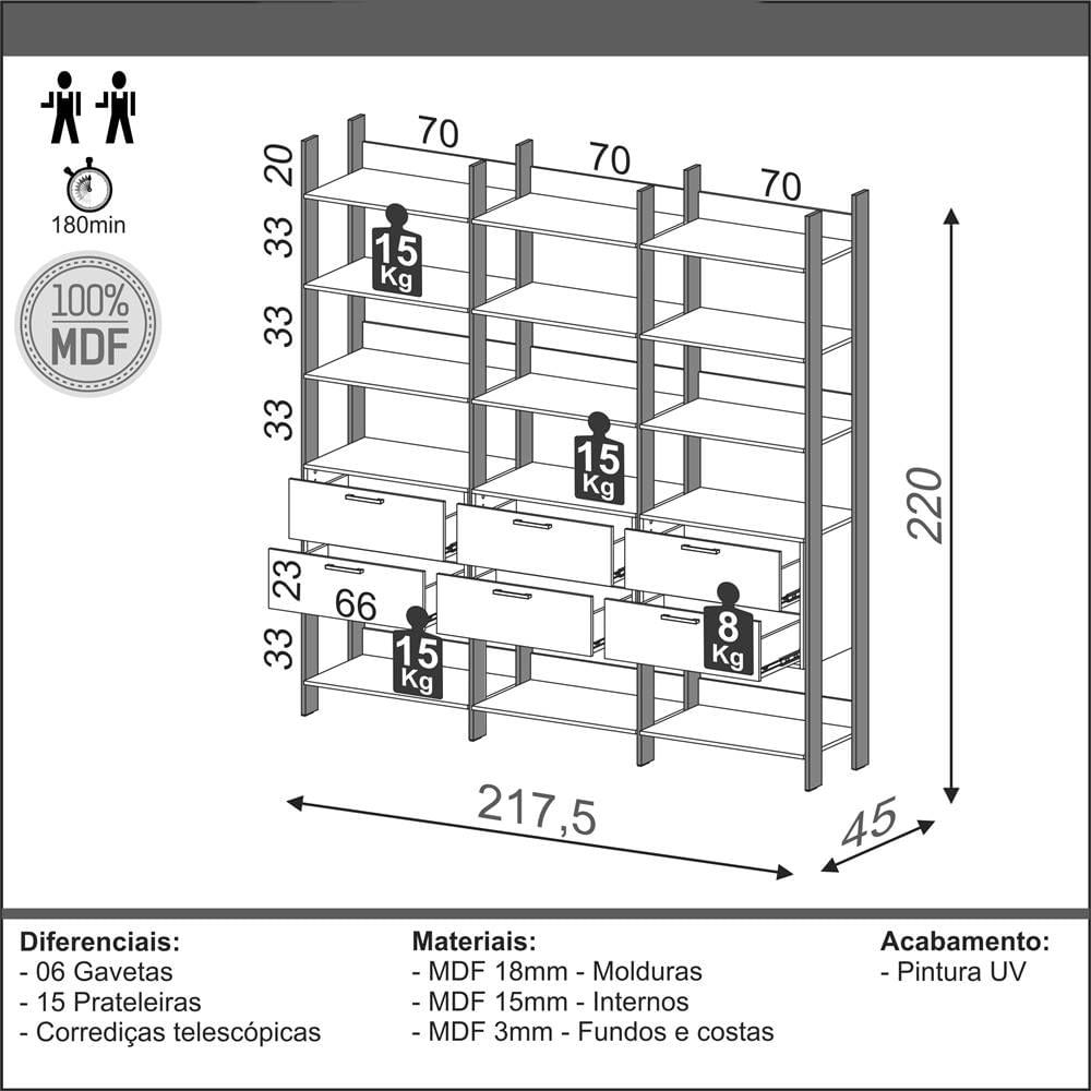 Closet 3 Torres com 3 Gaveteiros Olimpo 2,18 MT (LARG)) Off White Brilho com Freijo Fosco - 51876