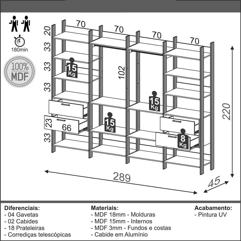 Closet 4 Torres com 2 Gaveteiros Olimpo 2,89 MT (LARG) Freijo Fosco com Preto Fosco - 52866