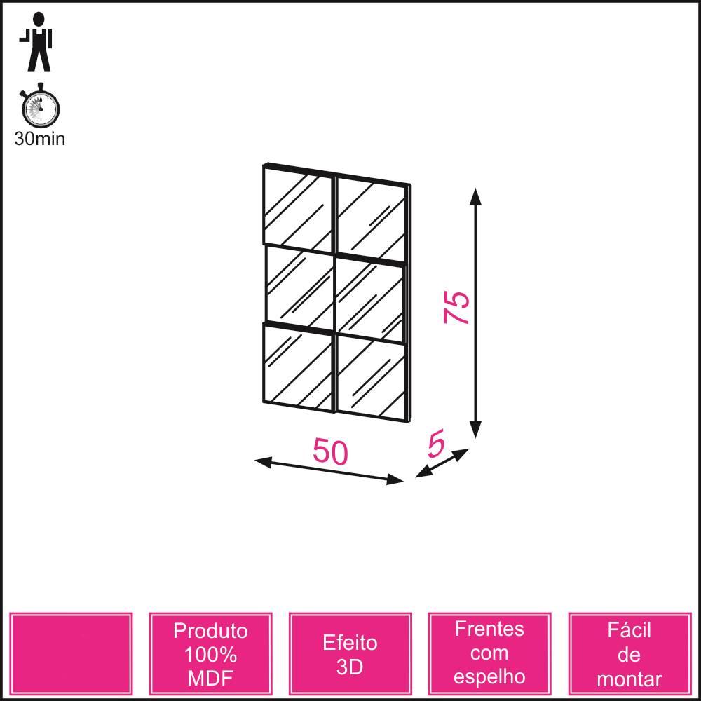 Quadro Espelho Block Mini 50cm (LARG) cor Freijo - 52876