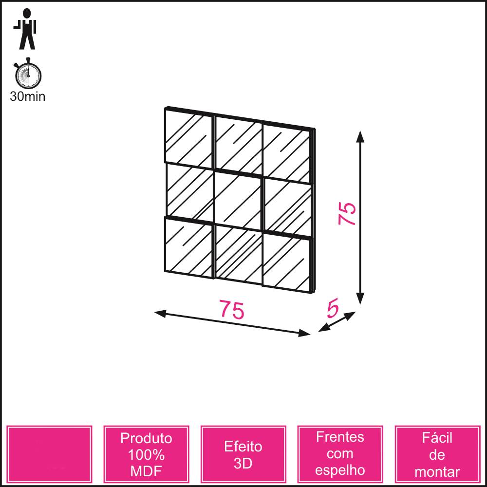Quadro Espelho Block Pequeno 75cm (LARG) cor Nobre - 39933