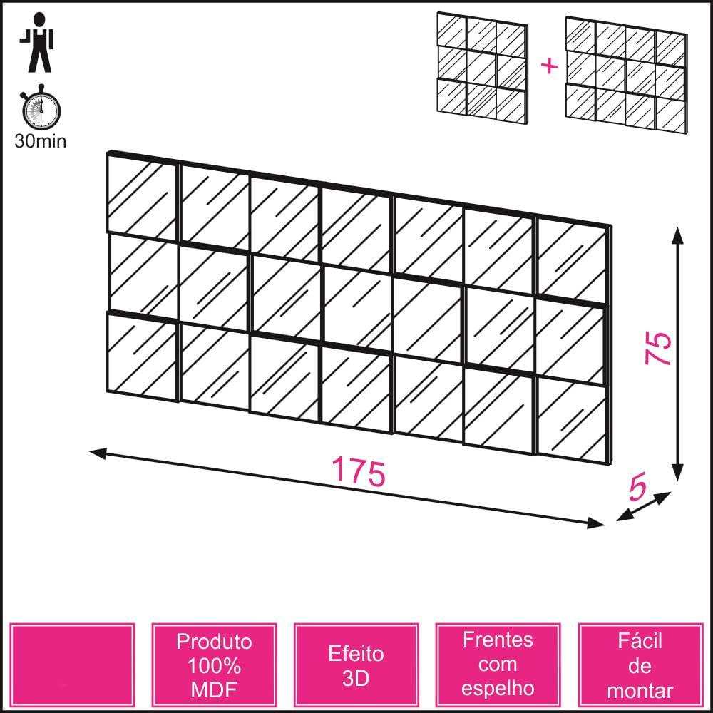 Quadro Espelho Block Extra Grande 1,75 MT (LARG) cor Nobre - 39929