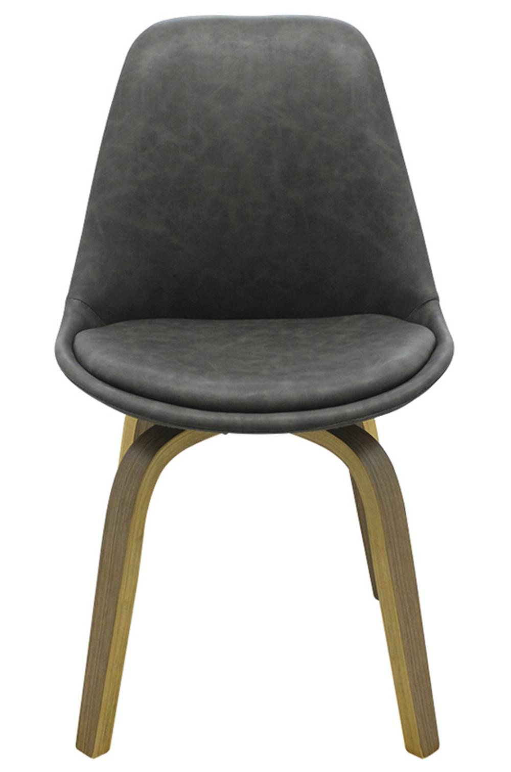 Cadeira Lis Eames Revestida PU Cinza Base Madeira Mescla - 53303
