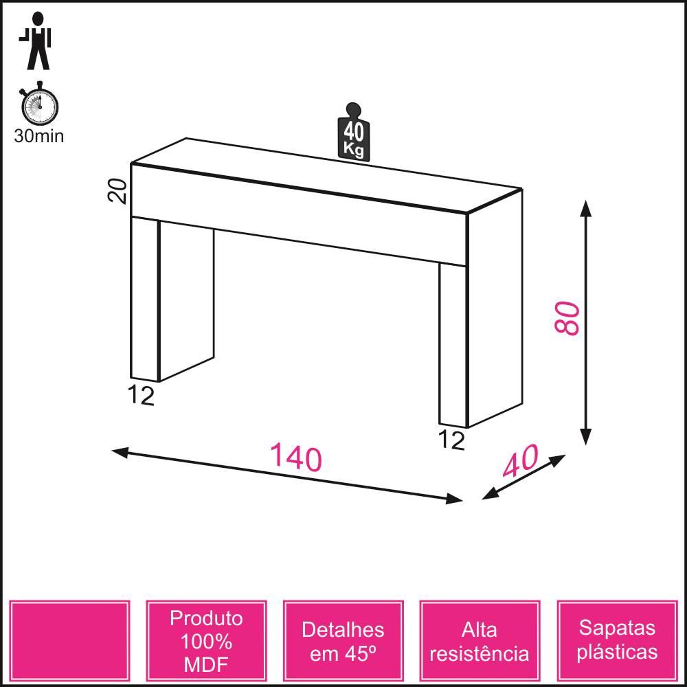 Aparador Cambuci cor Preto Brilho 1,40 MT (LARG) - 10767