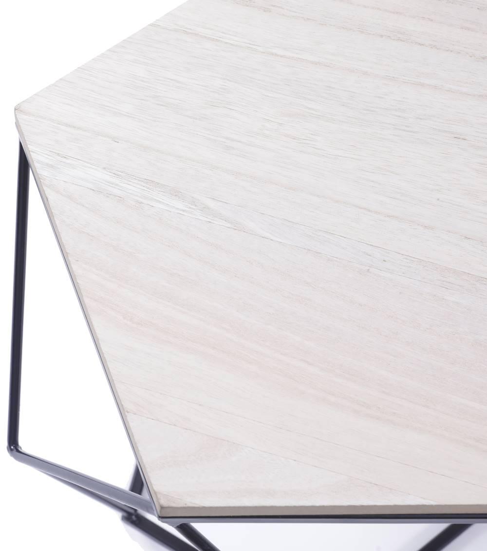 Mesa Lateral Jogral com Estrutura Metalica Preta e Tampo de Madeira - 53479