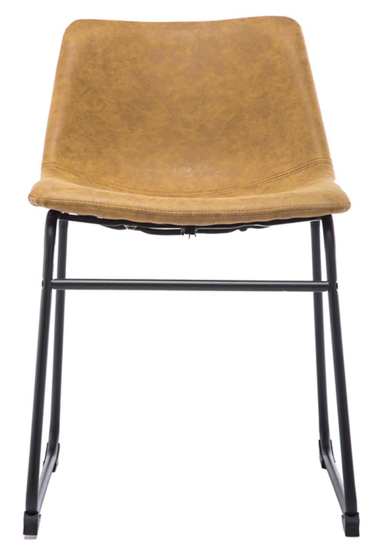 Cadeira Turtle Assento Courino Caramelo com Base Aco Preto - 53184