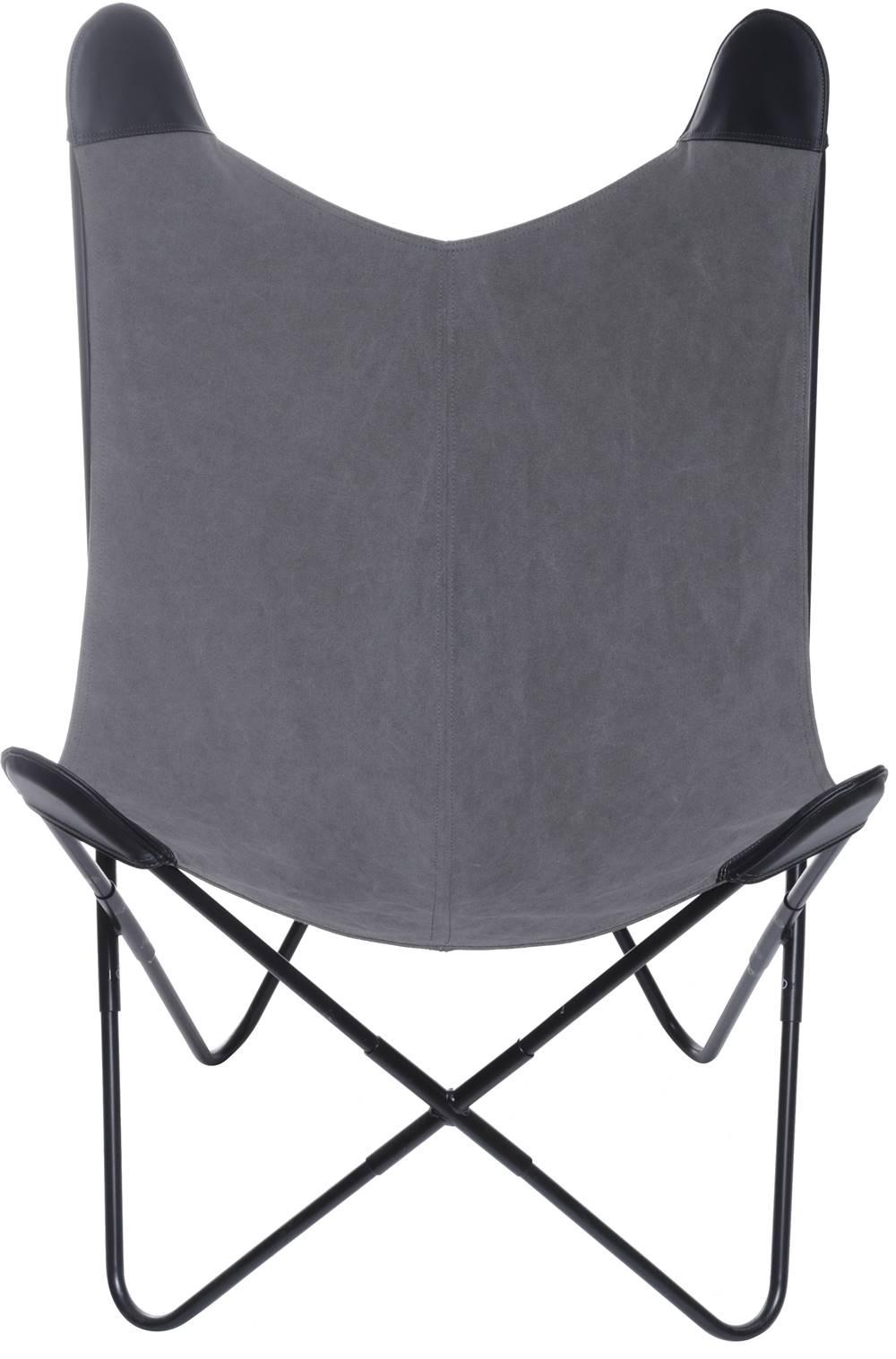 Poltrona Butterfly Estrutura em Ferro com Assento em Canva cor Cinza - 53527