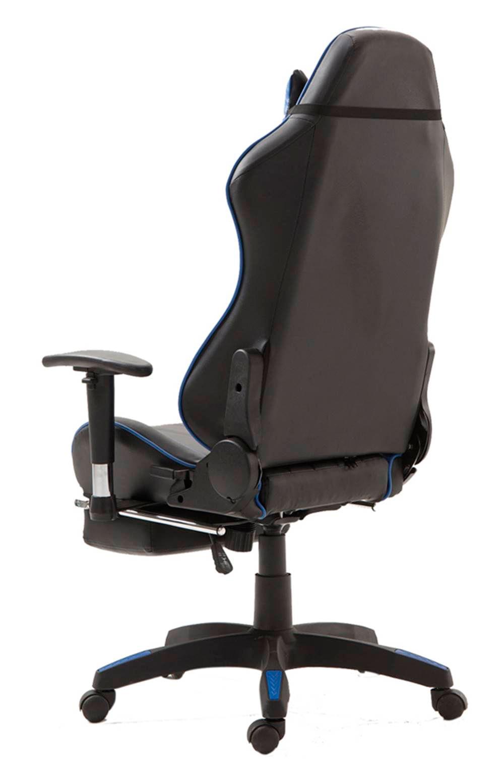 Cadeira Office XSX em Courino Preto e Azul - 53538
