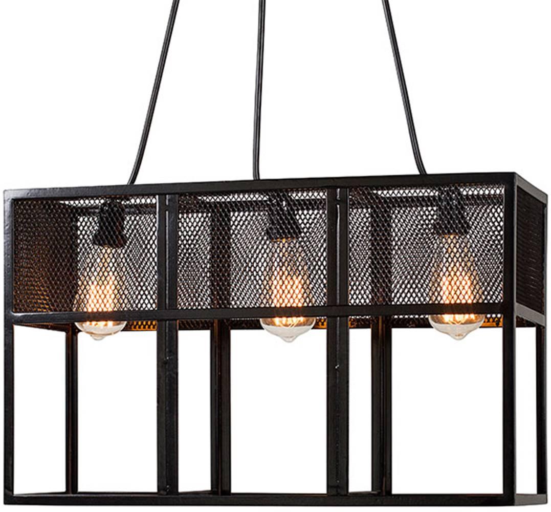 Luminaria Pendente Orbita Estrutura em Cantoneira de Ferro cor Preto 58cm (LARG) - 54083