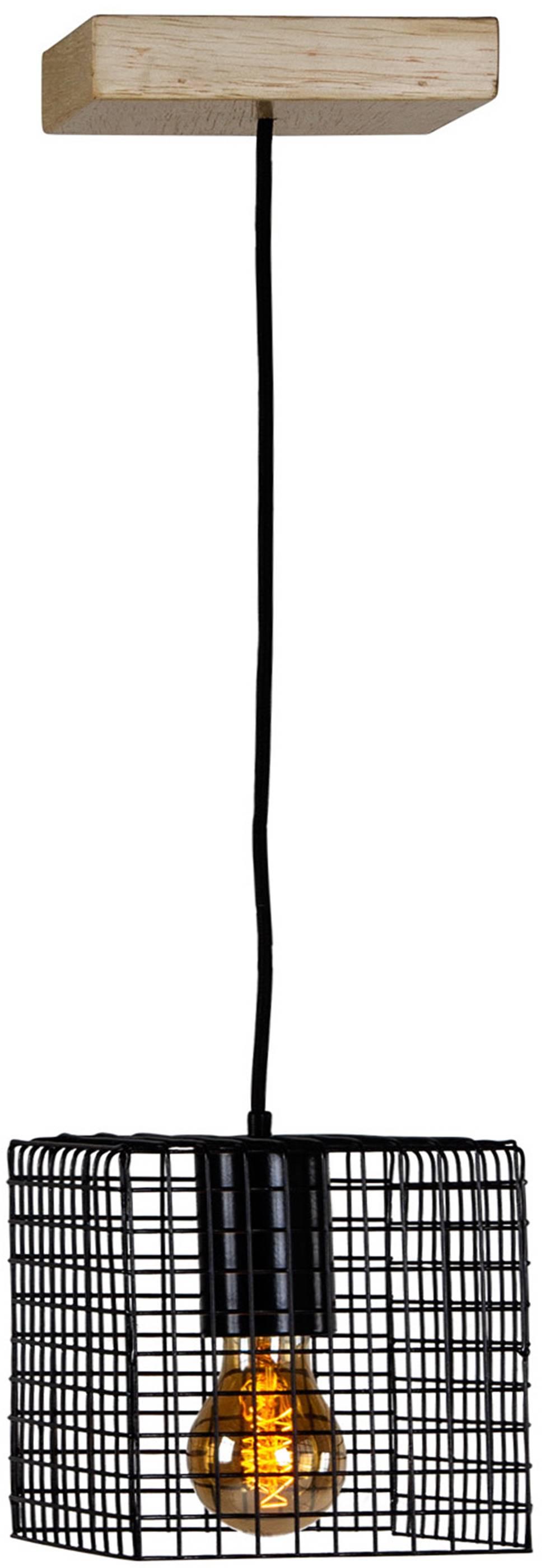 Luminaria Pendente Ogy Tela Quadrada Caixa Multilaminada cor Preto 0,15 cm (ALT)  - 54127