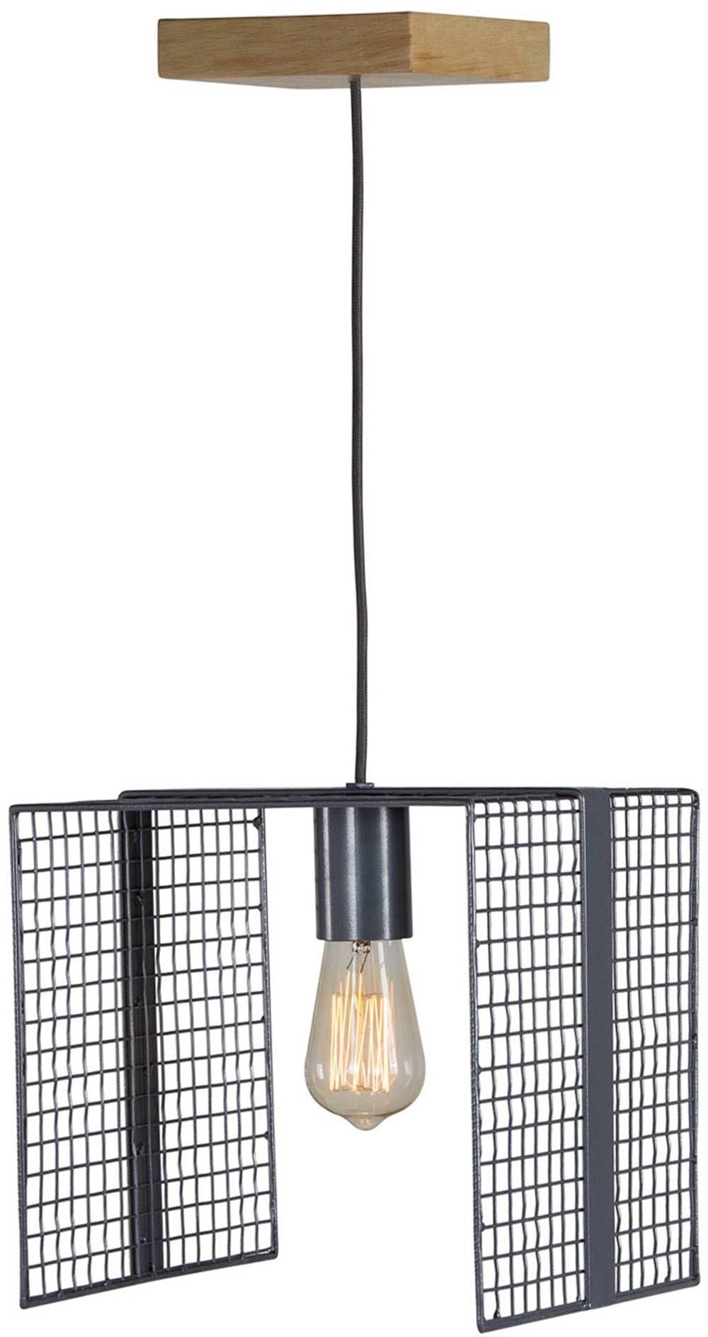 Luminaria Pendente Kant Caixa Multilaminada cor Preto 42cm (LARG) - 54130