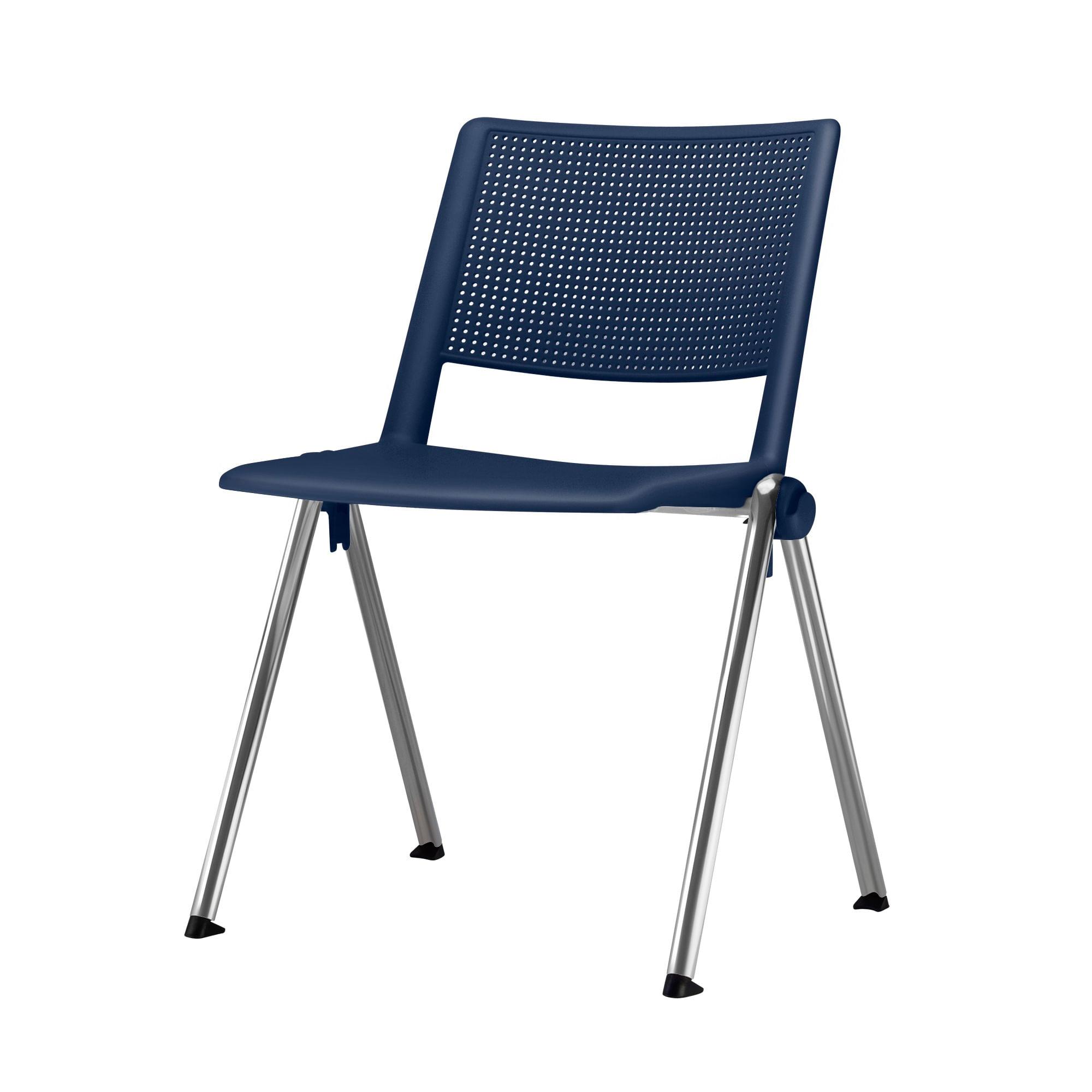 Cadeira Up Assento Azul Base Fixa Cromada - 54308