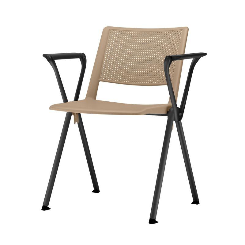 Cadeira-Up-com-Bracos-Assento-Bege-Base-Fixa-Preta---54319
