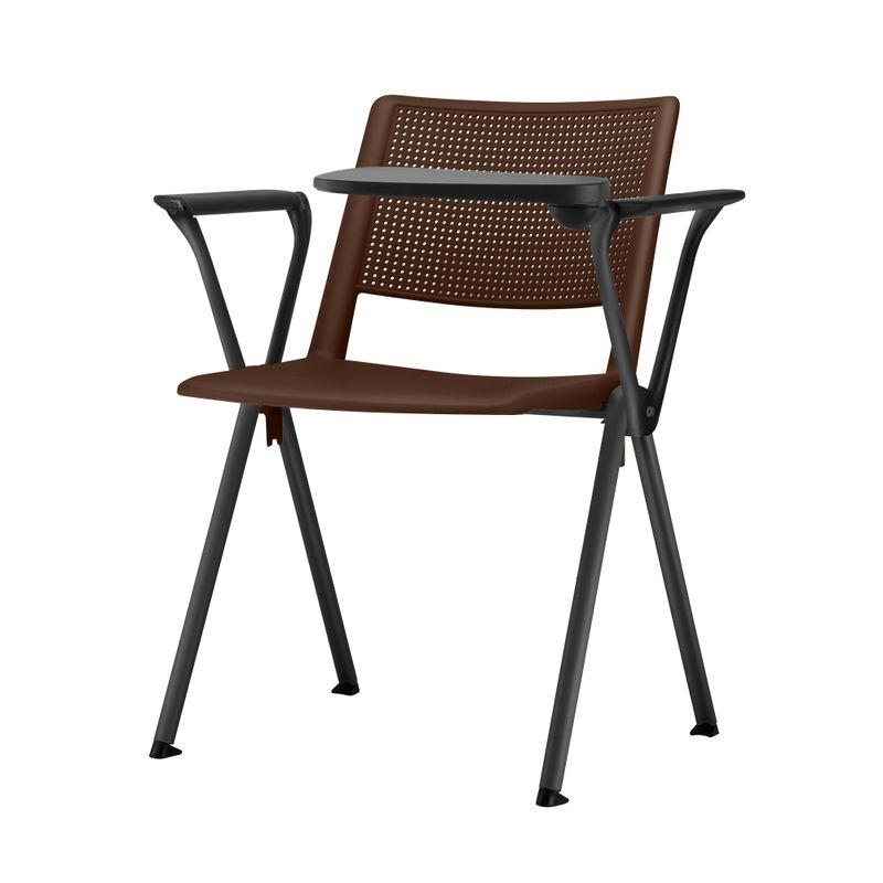 Cadeira-Up-com-Bracos-e-Prancheta-Assento-Marrom-Base-Fixa-Preta---54336
