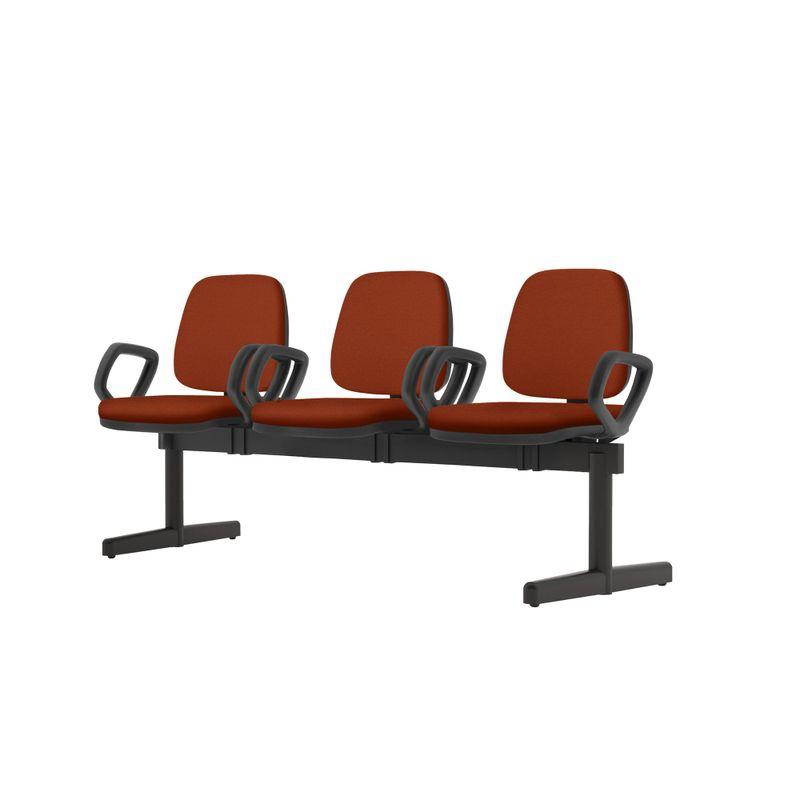 Longarina-Job-com-Bracos-3-Lugares-Assento-Courino-Vermelho-Base-Metalica-Preta---54502