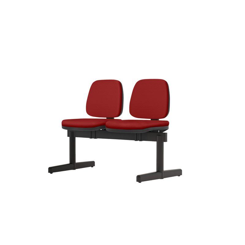 Longarina-Job-2-Lugares-Assento-Crepe-Vermelho-Base-Metalica-Preta---54517