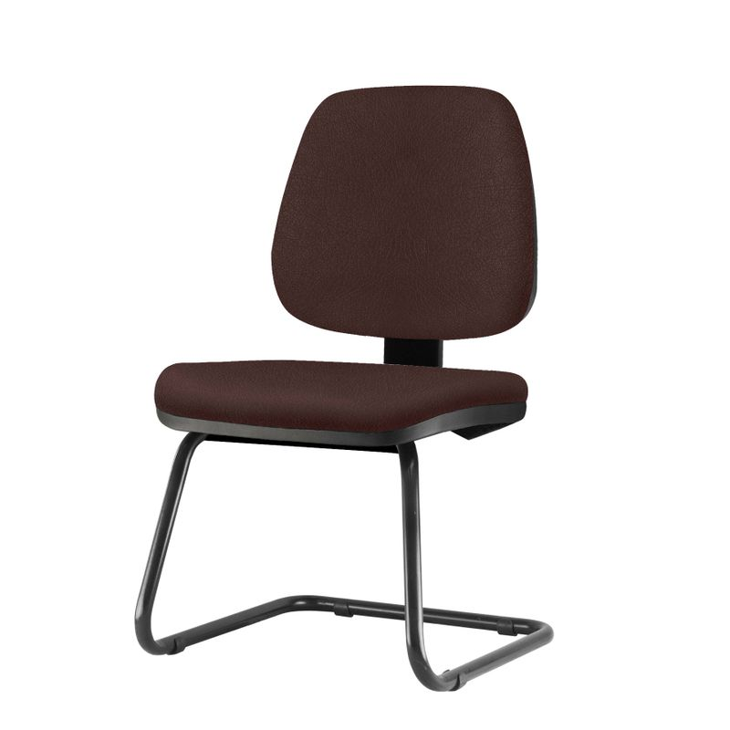 Cadeira-Job-Assento-Courino-Marrom-Base-Fixa-Preta---54565