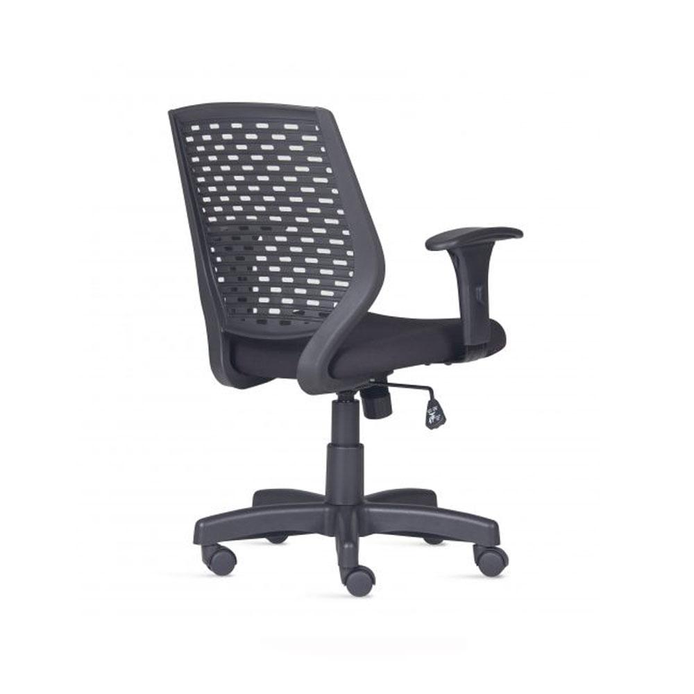 Cadeira Liss com Bracos Assento Polipropileno Courino Base Reta Metalica Preta - 54659