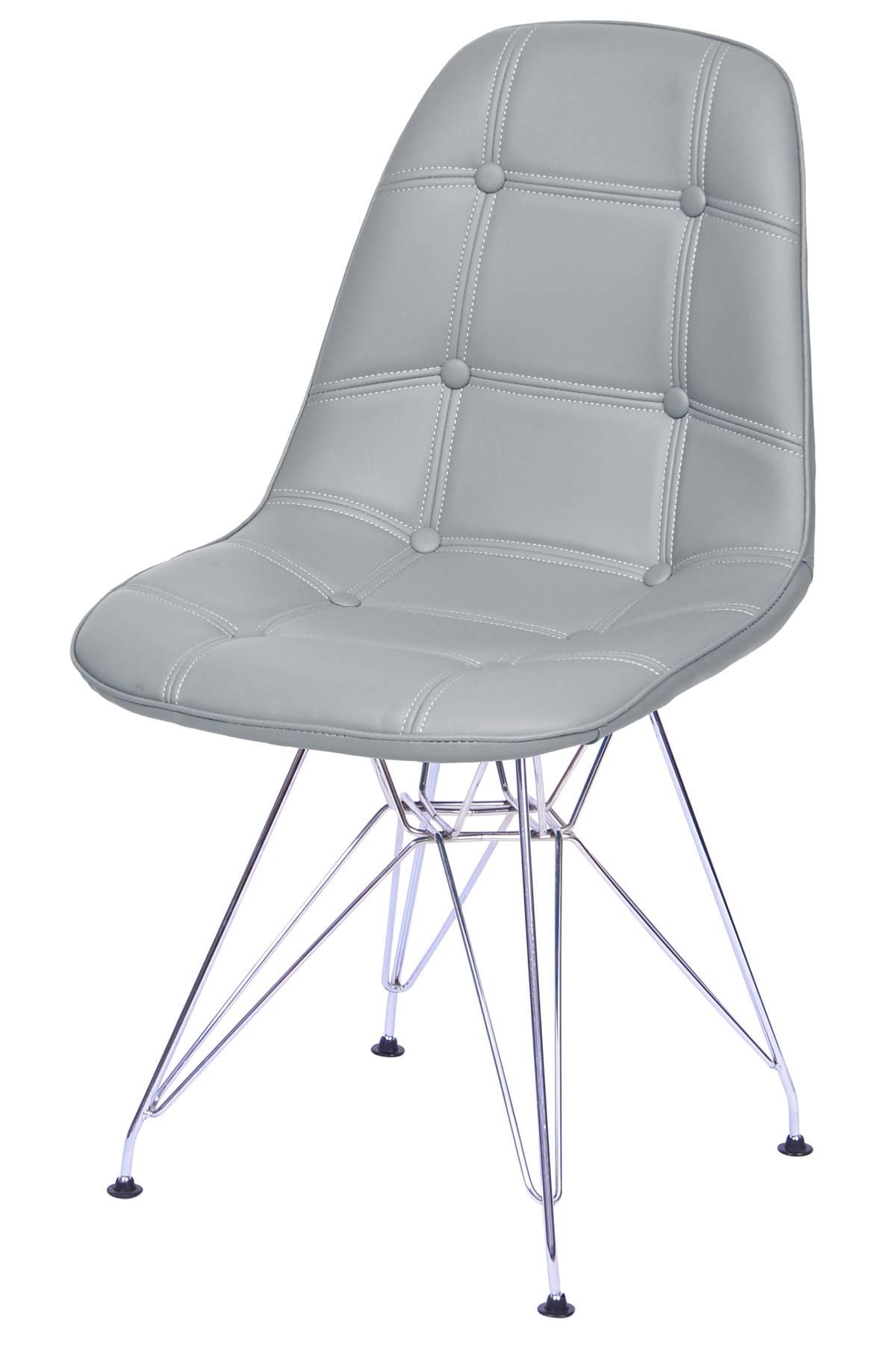 Cadeira Eames Botone Cinza Base Cromada - 53450