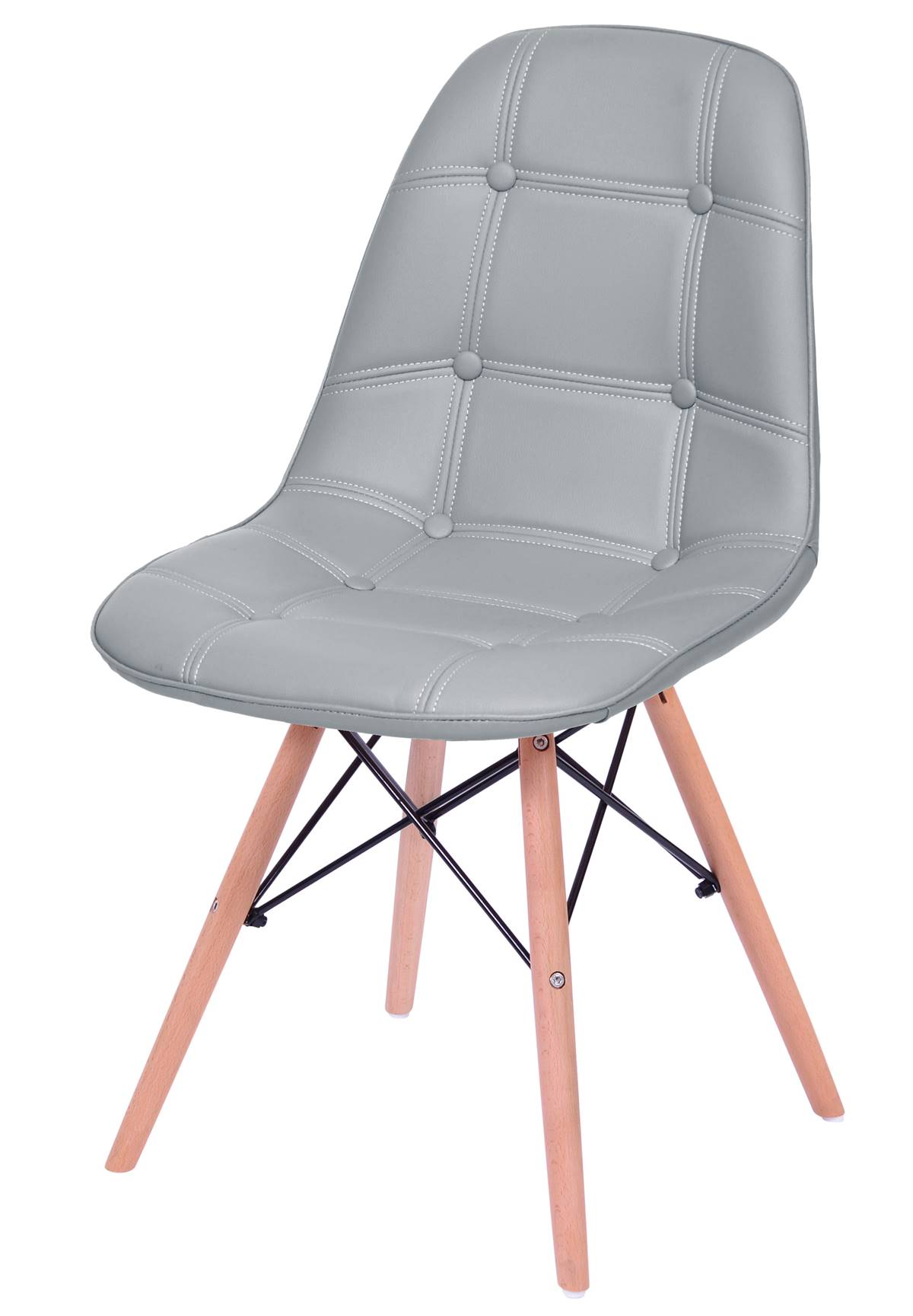 Cadeira Eames Botone Cinza Base Madeira - 53445