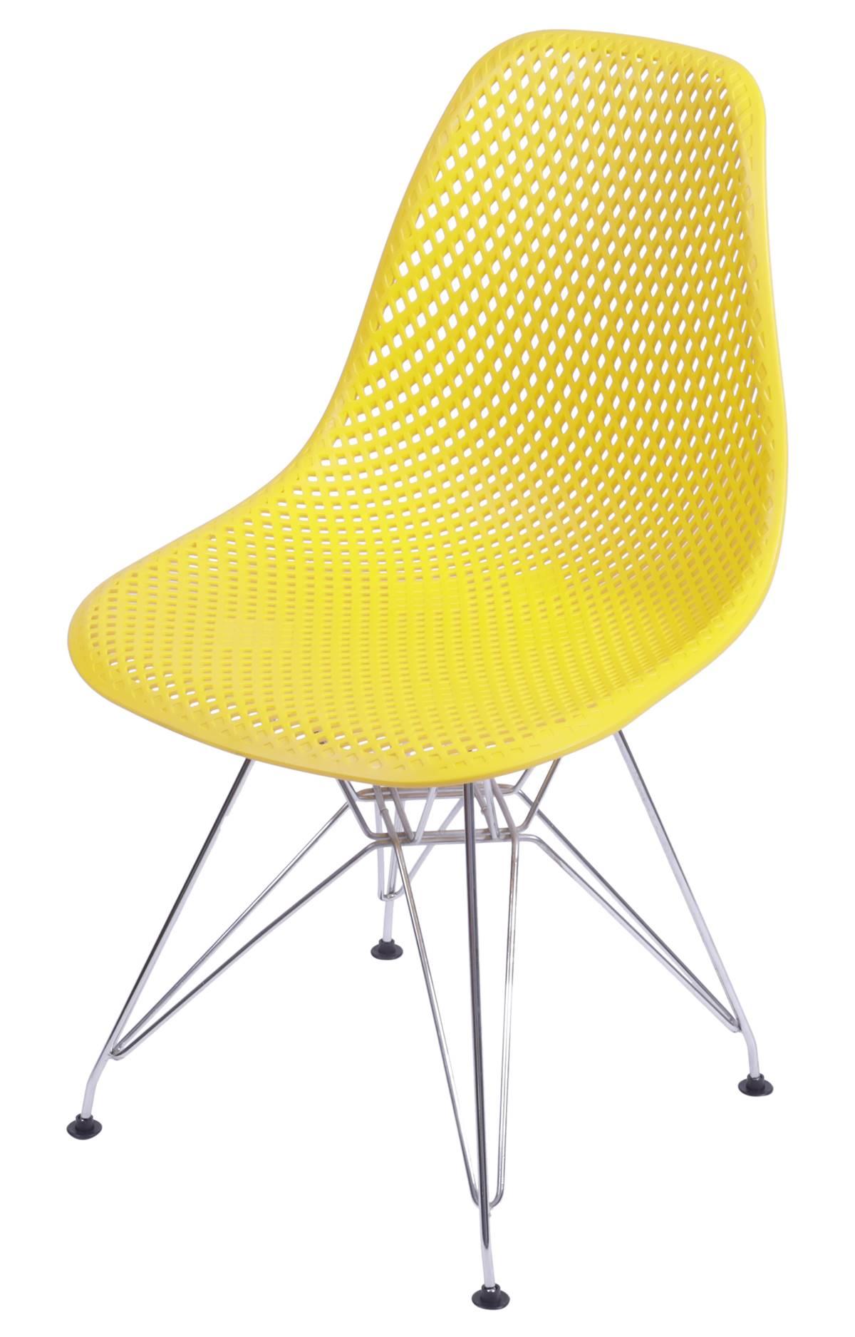 Cadeira Eames Furadinha cor Amarela com Base Cromada - 54700