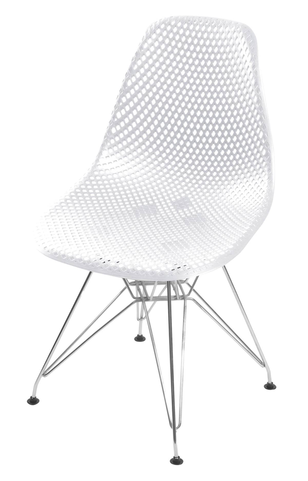 Cadeira Eames Furadinha cor Branco com Base Cromada - 54701
