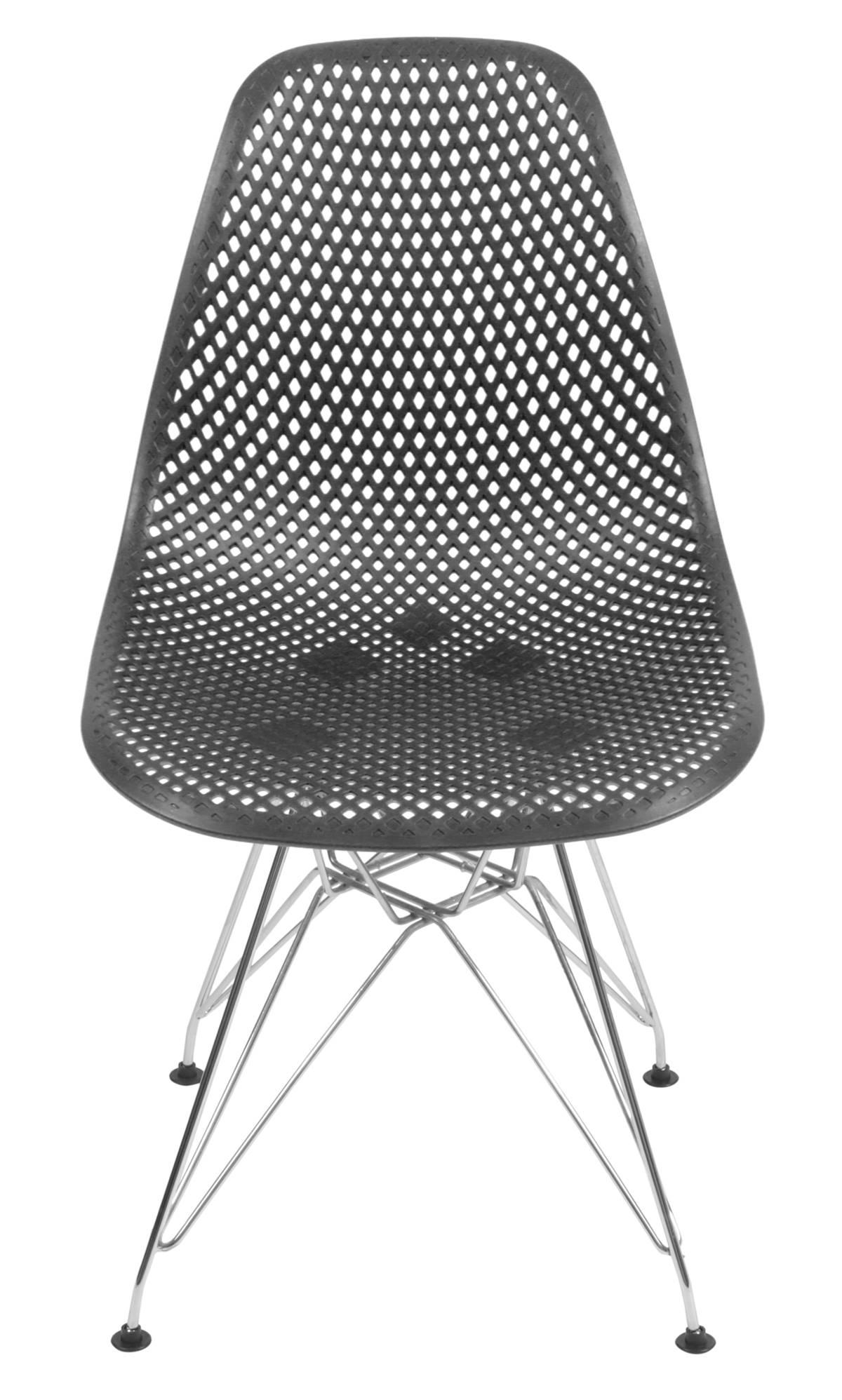 Cadeira Eames Furadinha cor Preto com Base Cromada - 54703