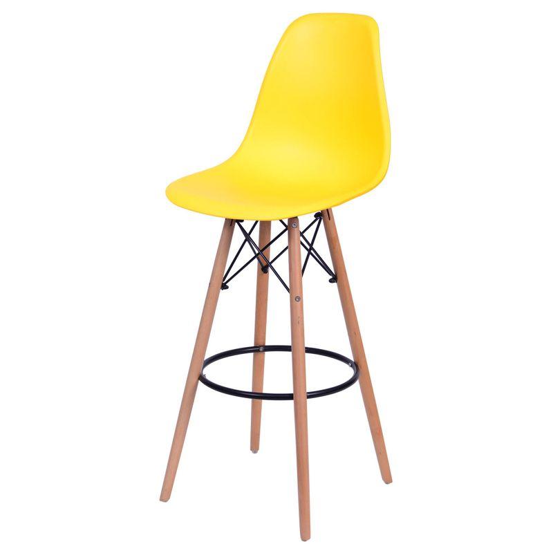 Banqueta-Eames-Polipropileno-Amarelo-Fosco-Base-Madeira---54745