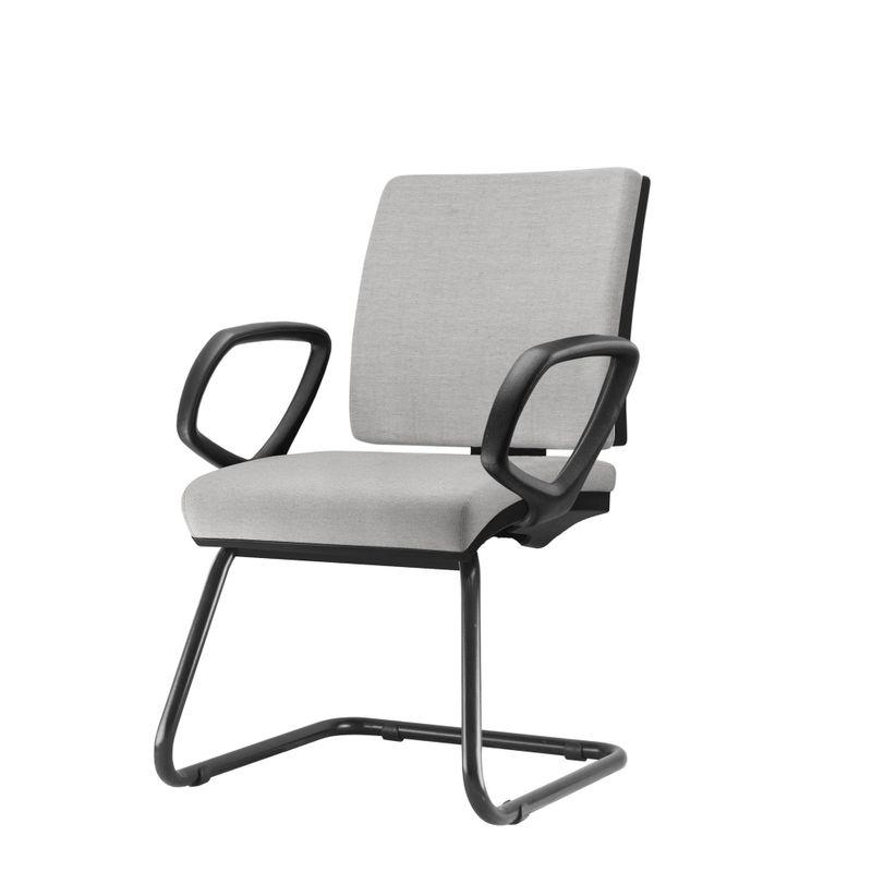 Cadeira-Simple-com-Braco-Fixo-Assento-Crepe-Cinza-Claro-Base-Fixa-Preta---54977