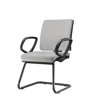 Cadeira-Simple-com-Braco-Fixo-Assento-Courino-Cinza-Claro-Base-Fixa-Preta---54978