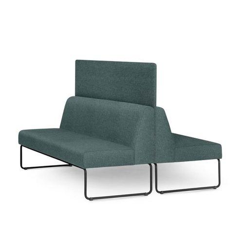 Sofa-Pix-com-2-Unidades-e-Painel-Divisor-Assento-Mescla-Verde-Base-Aco-Preto---55069