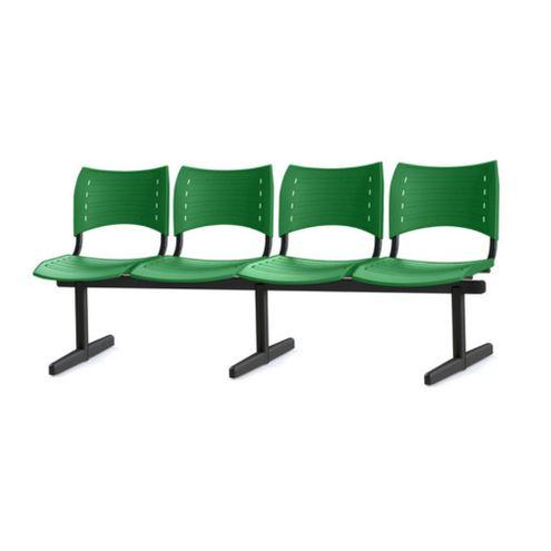 Longarina-Iso-com-4-Lugares-Assento-Verde-Base-Preta---55249