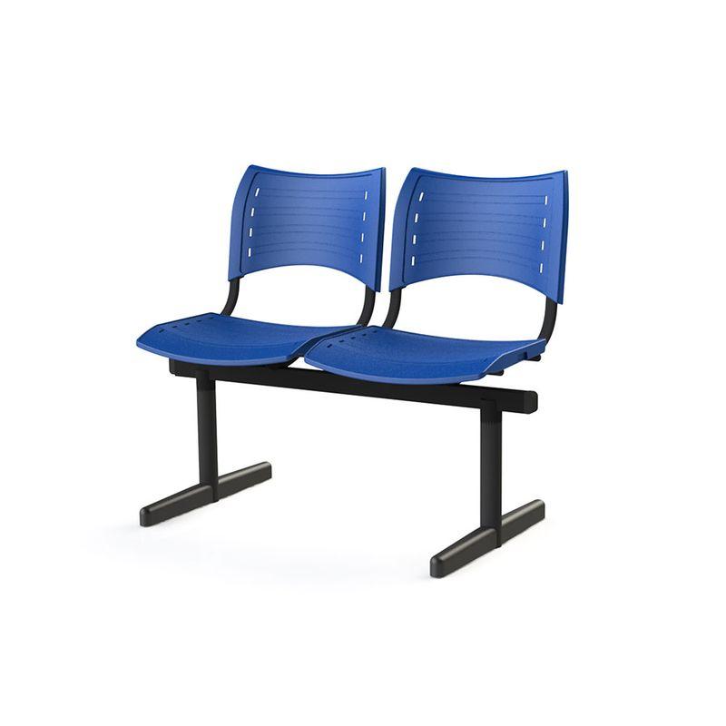 Longarina-Iso-com-2-Lugares-Assento-Azul-Base-Preta---55244