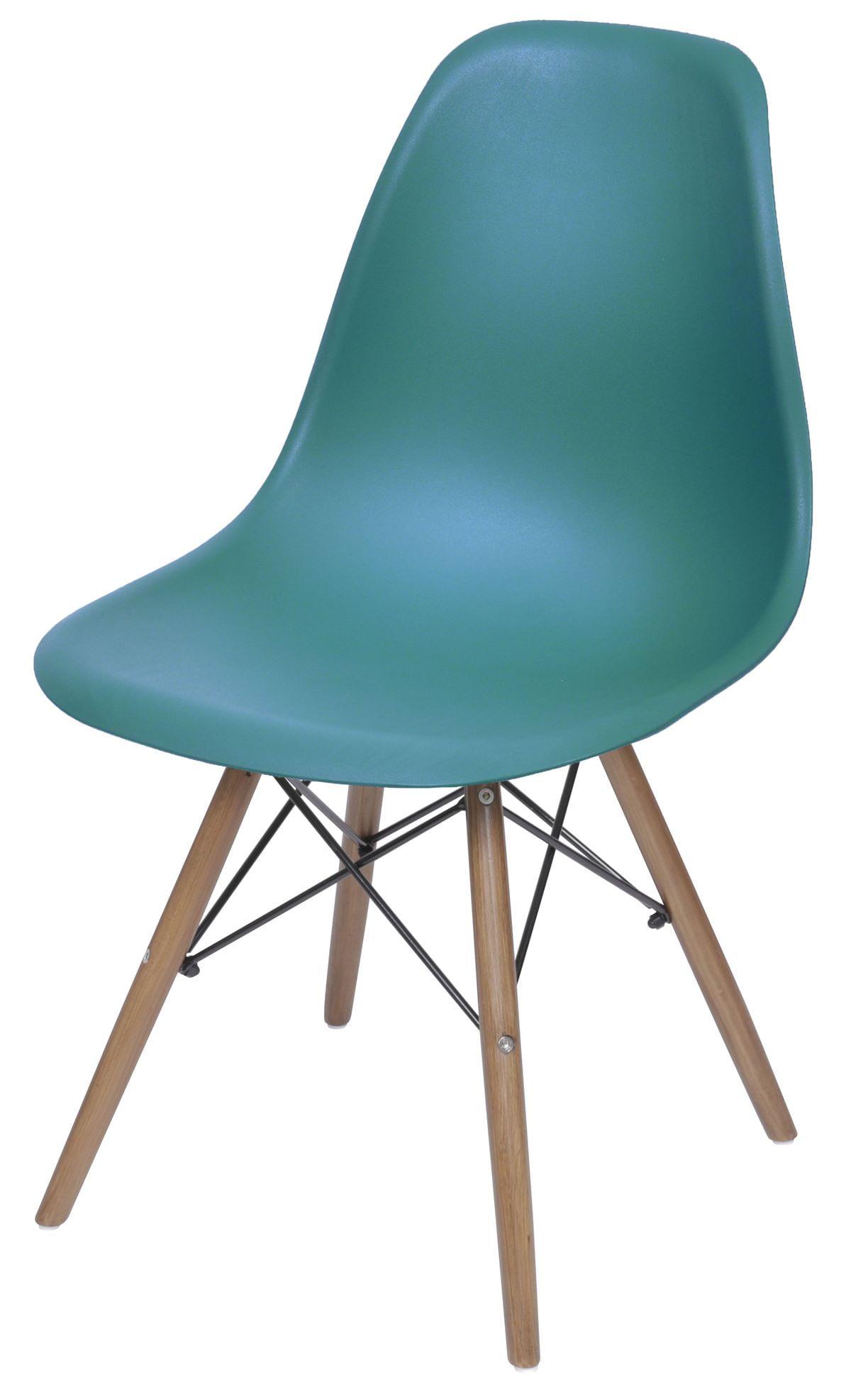 Cadeira Eames Polipropileno Azul Petroleo Base Madeira - 43039