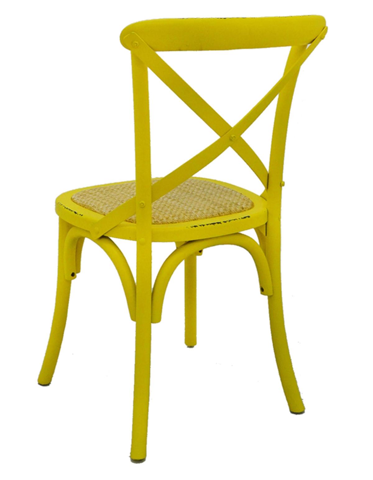Cadeira Katrina Madeira Assento em Rattan cor Amarela - 55467