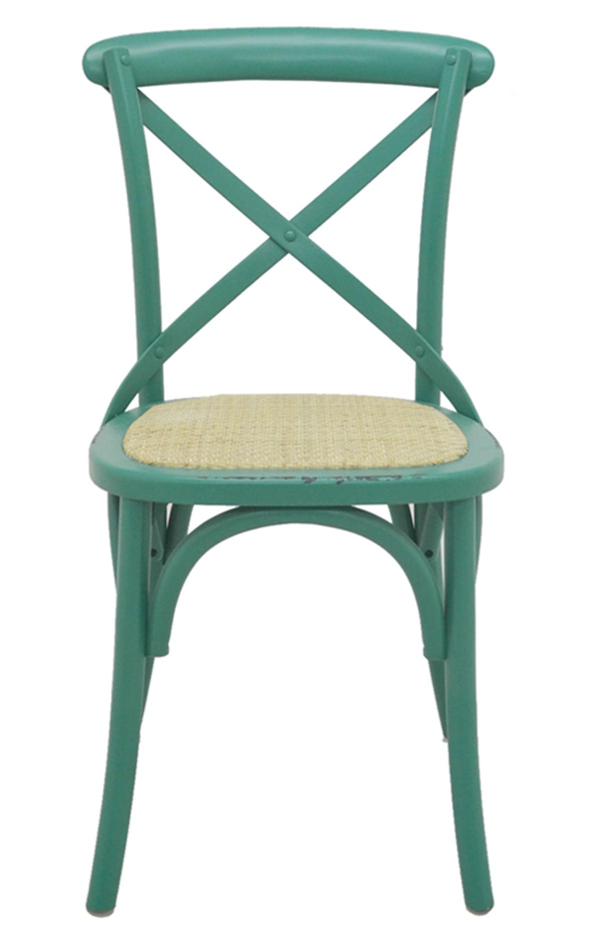 Cadeira Katrina Madeira Assento em Rattan cor Verde - 55474