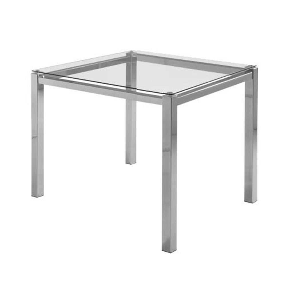 Mesa de Jantar Flex com Tampo de Vidro Quadrado Base Cromada 80 cm (LARG) - 55646