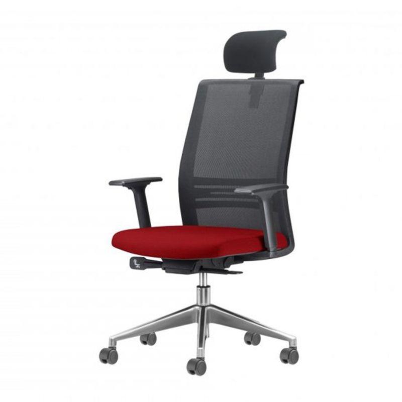 Cadeira-Agile-Presidente-com-Encosto-de-Cabeca-Assento-Courino-Vermelho-Base-Aluminio-Piramidal-e-Rodizio-em-PU---55713