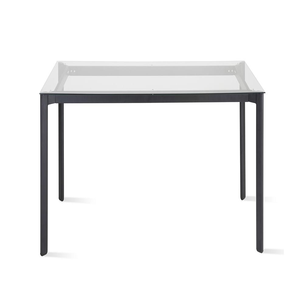 Mesa de Jantar Mila com Tampo de Vidro Quadrado Base Aco Preta 80 cm (LARG) - 55728