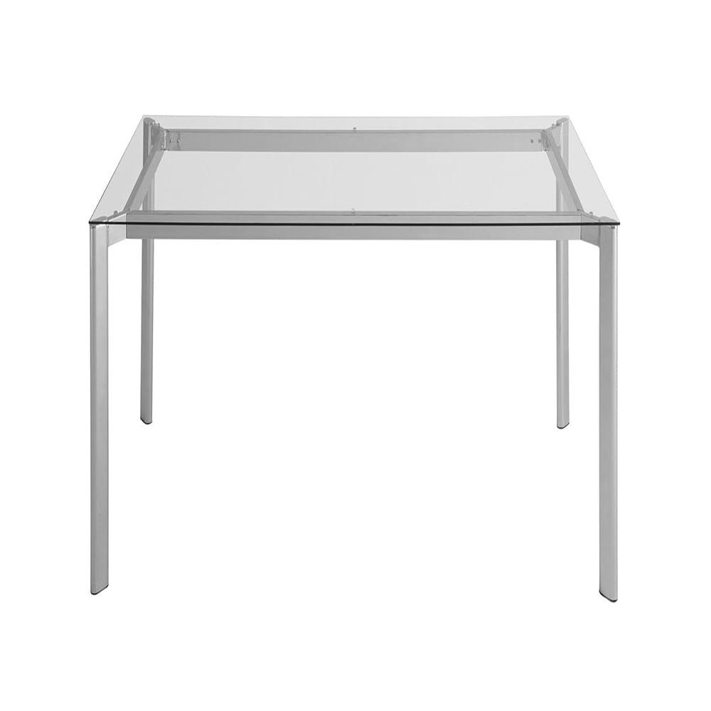 Mesa de Jantar Mila com Tampo de Vidro Quadrado Base Aco Cinza 1,00 MT (LARG) - 55736