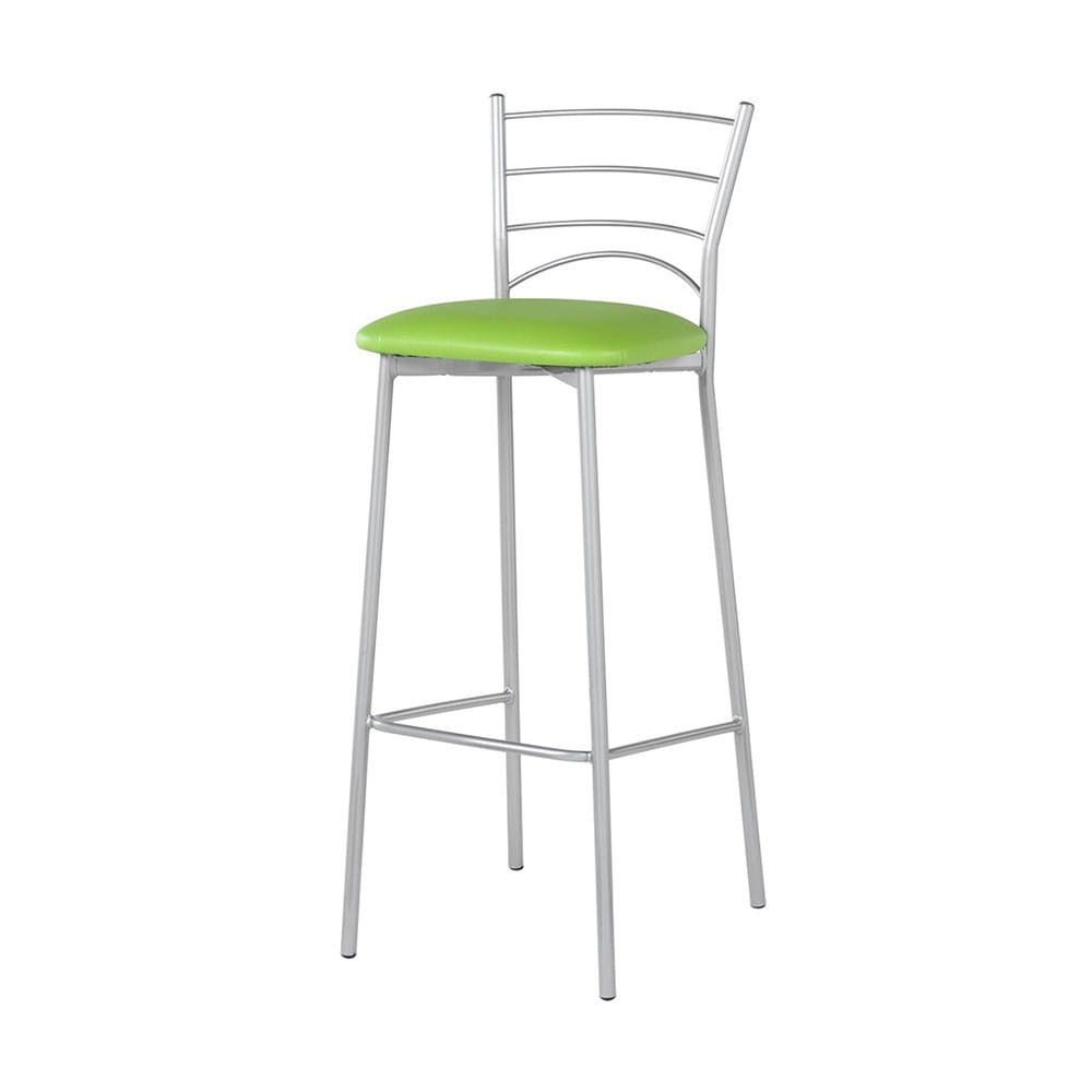 Banqueta Mint Assento Courino Verde Estrutura Cinza 87 cm (ALT) - 55796